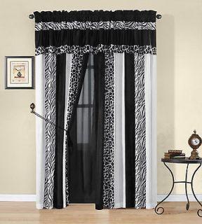 Okapi Black & White Micro Fur Zebra W/ Giraffe Design Window Curtain