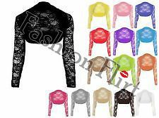 WOMENS LADIES LACE LONG SLEEVE BOLERO SHRUG ALL COLOURS 8 10 12 14