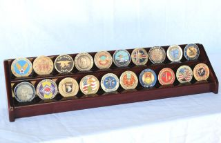 20 Challenge Coin 2 Row Chip Display Case Holder Rack
