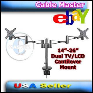 TILT SWIVEL DESK MOUNT BRACKET LCD LED MONITOR TV 14 26 DUAL ARMS