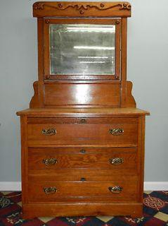 Late Victorian 3 Drawer Oak Dresser with Mirror