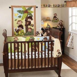 Brown Tree Forest Animal Monkey 4pc Neutral Nursery Crib Bedding Set