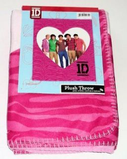 1D One Direction Pink Zebra Print Plush Throw Blanket XL Size 50 x 60