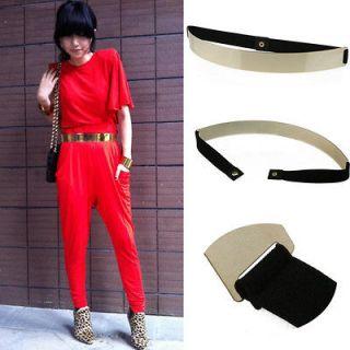 New Hot Fashion Lady Metal Front Skinny Wide Elastic Belt Waistband 5