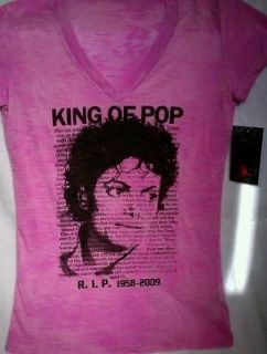 MICHAEL JACKSON T SHIRT RIP Womens Pink SMALL
