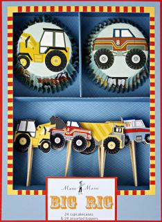 Big Rig Transportion Truck Tractor Cupcake Wrappers Kit 24 Toppers
