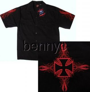 Iron Cross Biker Work Shirt, Dragonfly, M L XL 2X 3X