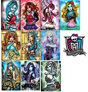 10 MONSTER HIGH Art Poster Prints by Bianca Thompson Dracu laura Abby