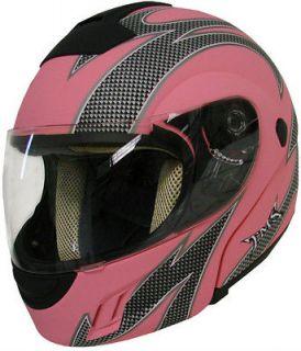 MODULAR MOTORCYCLE STREET BIKE HELMET MATTE PINK W/CARBON FLAME ~S M L