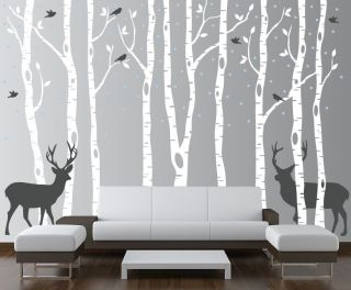Birch Tree Wall Decal Forest with Snow Birds and Deer Sticker