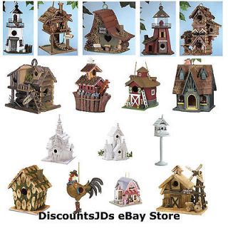 Theme Design Freestanding Hanging Wood Decorative Bird Houses Yard Art