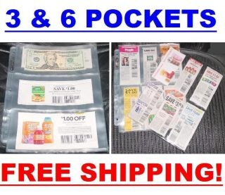 20 ) Coupon binder sleeves pages holder 3 & 6 Pockets