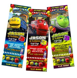 Chuggington TRAIN BIRTHDAY PARTY INVITATION TICKET FIRST 1ST  c2