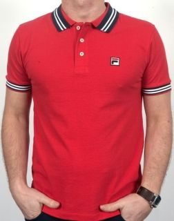 Fila Vintage Settanta Borg BJ Match Polo Shirt Red/Navy Collar S,M,L