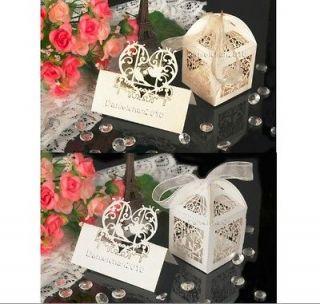 10*Laser CutLove Birds wedding Favor Boxes&10*Birds Table Decor