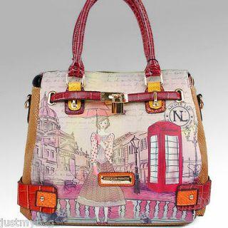 New Nicole Lee Telephone Fashionista Print Padlock Bag, Multi