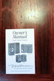 Bic Venturi V52si V62si V82si Speaker Owners Manual *Original*