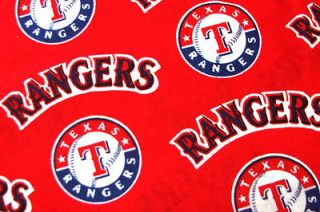 MLB Texas Rangers 100% Cotton Baseball Fabric Ultra Rare RED OOP ~ BY