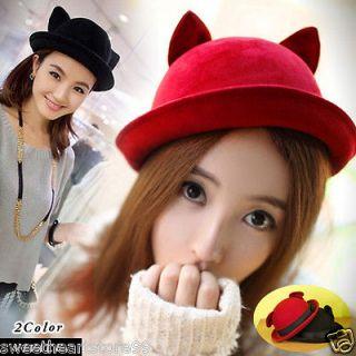 B188 Vivi Magazine Lovely Ribbon Big Cat Ear Bowler Hats Cap Japan