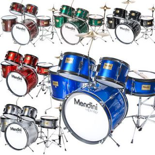 MENDINI 5 PIECE 16 CHILD JUNIOR DRUM SET ~BLUE BLACK GREEN SILVER RED