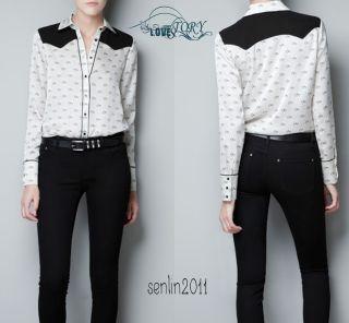 Collar Button chiffon pony Print Long Sleeve Shirt Tops Blouses #39