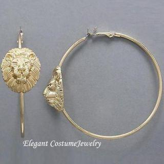 BIG 2 3/4 Lion Head Gold Hoop Earrings Elegant Costume Jewelry