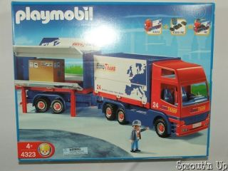 PLAYMOBIL semi truck OTrans 4323 Big Rig trailer hauler RETIRED NEW