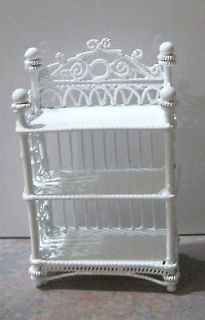 Dollhouse Small White Wire Wicker Display / Bookcase / Etagere