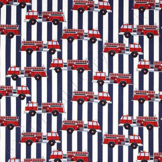 Robert Kaufman Fire Station Fire Truck Stripe Red Kids Novelty Cotton