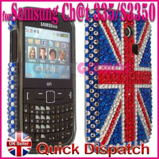UNION JACK DIAMOND BLING CRYSTAL GEM CASE COVER FOR SAMSUNG CHAT CH