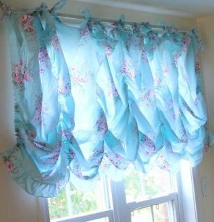 ruffle chic victorian cottage french blue rose balloon valance curtain