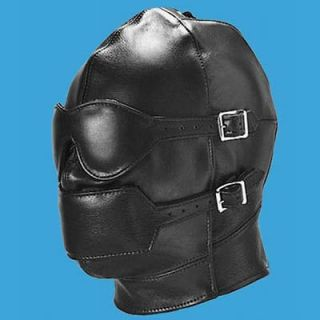FULL Leather Hood with DETACHABLE Blinder and Mouth