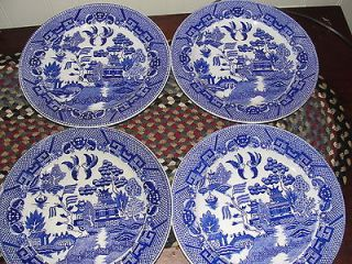 ANTIQUE JAPAN BLUE WILLOW DINNER PLATES BLUE & WHITE WILLOW CHINA