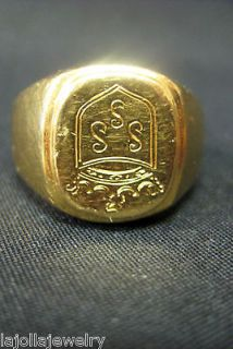 18K YELLOW GOLD ENGLISH CREST SIGNET RING MENS SIZE 8