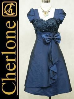 Cherlone Satin Dark Blue Prom Ball Party Cocktail Lace Evening
