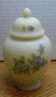 Fenton Art Glass Blue Roses on Cameo Satin HP Temple Jar