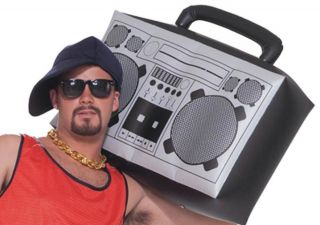 Giant Inflatable Boom Box Retro 80s Hip Hop Rapper Costume Accessory
