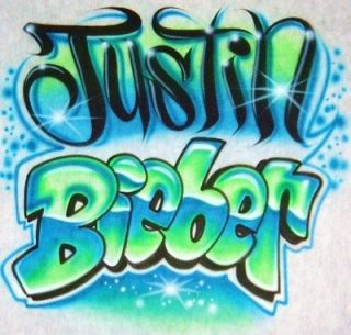 Airbrush T Shirt With Justin Bieber Name In Tagg and Bubble Letters