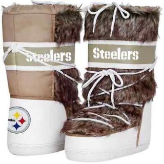 Cuce Shoes Pittsburgh Steelers Ladies The Aficionado Boots   Tan/White