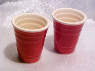 Fill Me Up Red Solo Cup 2 ounce Ceramic Shot Glasses Party Pack 2