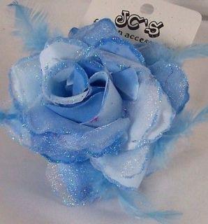 BLUE GLITTER ROSE FLOWER HAIR Clip Ponytail Pin
