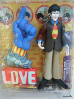 NIB Paul BEATLES Doll & BLUE GLOVE LOVE BASE 1999 Yellow Submarine