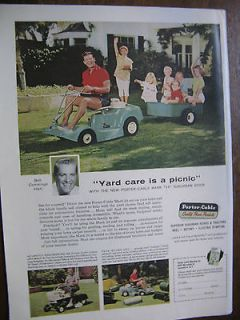 1960 Porter Cable YARD MASTER Riding Mower Bob Cummings Ad 8 x10