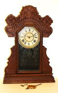 CIRCA 1890 FANCY OAK GINGERBREAD CLOCK, INGRAHAM CLOCK CO. BRISTOL