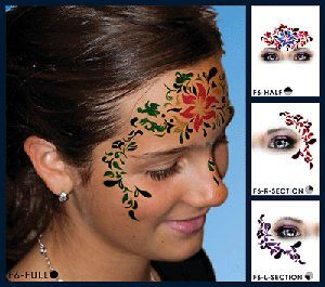 opean Body Art Hawaiian Flower Face Paint Stencil Template Airbrush