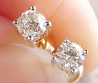 14K Yellow Gold Diamond Stud Earrings w/ Screw Backs .36ctw