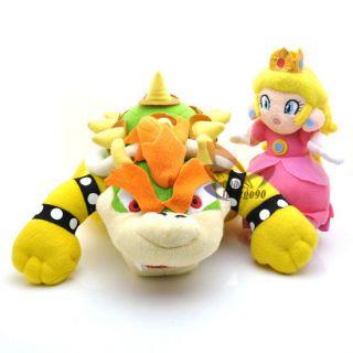 2PCS 7 10 Super Mario Bros BOWSER PRINCESS Plush Doll Toy MT85+MT87