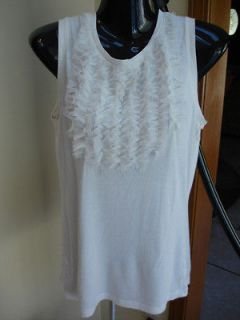 Gap sleeveless off white ruffled front pullover top tank