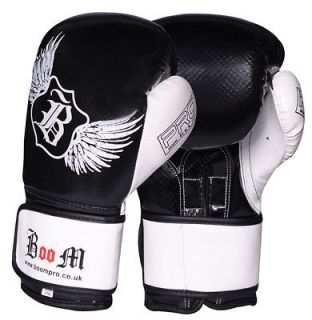 BOOM Pro Leather Boxing Gloves,MMA,Spa rring Punch Bag,Muay Thai