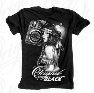 Original Black Boombox Girl T Shirt Black clothing mens hip hop tattoo
